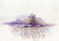 Violet field Original handmade watercolor painting winter