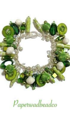 Green Paper Bead Charm Bracelet Paper Bead by PaperwadBeadCompany