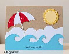 Karte mit Wellen und Sonnenschirm