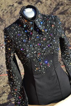 Horsemanship shirt - black base with black lace applique, covered in Swarovski rhinestones and beads in jewel tones!! Made by KLS Designs Show Clothing - check us out on FB!!