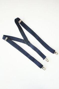 Vintage navy braces/suspenders by TurquoiseFlamingo on Etsy
