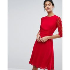 Elise Ryan Midi Skater Dress With Lace Waist And Sleeve ($82) ❤ liked on Polyvore featuring dresses, red, sleeved dresses, red skater dress, red midi dress, long-sleeve skater dresses and long-sleeve midi dresses