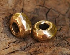 Rustic Heavy Rondelle Donut Bead in Golden Bronze