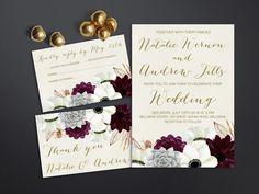 Printable Floral Wedding Invitation Set - Burgundy & Gold Anemone & Succlent Wedding invitation:  • wedding invitation (5x7, fits inside A7 envelope) •