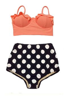 Old Rose Midkini Pad Top and Black Polka dot dots by venderstore, $39.99