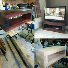 Home made TV stand, started with oak sleepers, treated with medium oak tinted wax oil #furniture #handmade