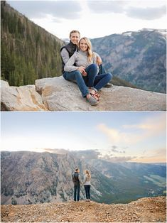 Summer Engagement Session - Red Lodge - Mountains - Trees - Sunset - Holding Hands - Rocks - Sitting on Edge - Cliff - Clouds - Fiance - Engaged Couple - Black Vest - Gray Shirt - Jeans - Montana Wedding Photographer - Sara Nagel Photography Engagement Couple, Engagement Session, Engagement Photos, Red Lodge Mountain, Montana Wedding, Time Of Your Life, Black Vest, Gray Shirt, How To Pose