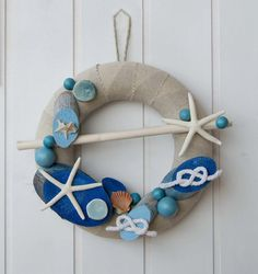 OOAK nautical wreath with blue decors, made in Italy blue ocean wreath with sea stars, unique Italian summer decor for beach house or boat