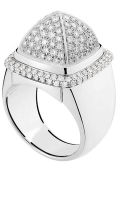 Ring Sugarloaf Interchangeable white gold, white diamonds, and gray Sugarloaf Quartz by  FRED jeweler   HT