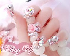 Silver Glitter French Tip Japanese Nail Art with 3D by blingup, $43.99
