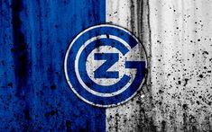 Download wallpapers Grasshoppers FC, 4K, logo, stone texture, grunge, Switzerland Super League, football, emblem, Zurich, Switzerland