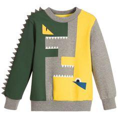 Fendi - Boys Grey 'FF' Spiked Monster Sweatshirt | Childrensalon