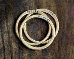14k Yellow Gold Custom Hammered Rings - Set of 3 by Monkeys Always Look www.monkeysalwayslookshop.com