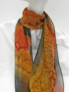 Hand Painted Silk Scarf in Gold Dark Brown and Copper by ShariArts, $34.00