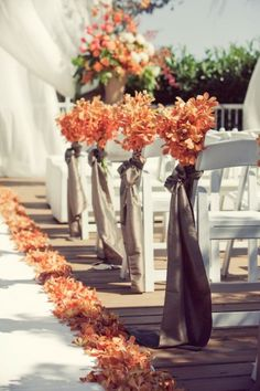 fall wedding ceremony idea via Leanne Pedersen Photographers / http://www.himisspuff.com/outdoor-wedding-aisles/6/
