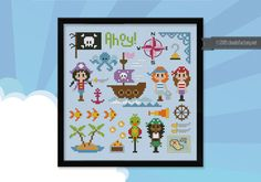 Pirates Ahoy Boys Girls 2 patterns Cross stitch by cloudsfactory. I love the octopus, fish, and anchor.