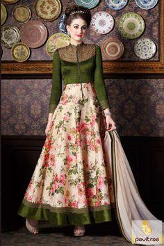 Full Length Green Cream Silk Chiffon Party Wear Collection Dress