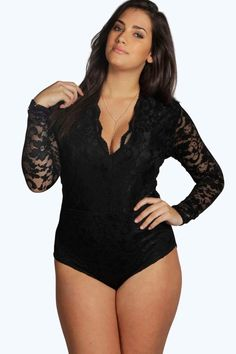 Women Fashion Sexy V Neck Long Sleeve Lace Patchwork Bodysuit Black Scallop Romper Skinny Jumpsuit Plus Size Lingerie Retro, Plus Size Lingerie, Plus Size Boudoir, Body Plus Size, Plus Size Women, Long Romper, Long Sleeve Romper, Black Long Sleeve Bodysuit, Dress Long