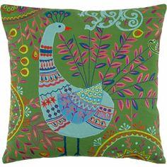 Aviva Stanoff Embroidered Peacock Pillow #barneyswarehouse.com