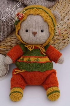 Knitting: Cozy Outfit 2 - Pattern #knitting #pattern #doll #clothes #teddy #bear #handmade #craft Baby Knitting Patterns, Teddy Bear Knitting Pattern, Knitted Teddy Bear, Crochet Cat Pattern, Plush Pattern, Crochet Mug Cozy, Crochet Monkey, Teddy Bear Clothes, Teddy Bear Toys
