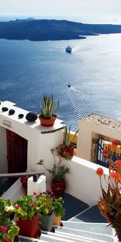 View of volcano from Fira ~ Santorini Island, Greece