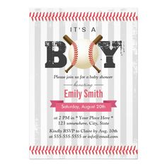 Baseball Sport Theme It's a Boy Baby Shower Card
