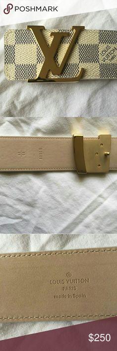 Authentic Louis Vuitton Damier Azur Belt Fits size 32-36. Text me 239 245 3859 if interested Accessories Belts
