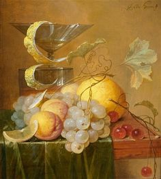 Jan Davidsz. de Heem (Dutch, 1606-1684) - A still life with grapes, apricots, cherries, a lemon and drinking glasses on a table