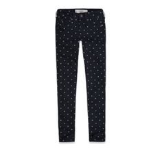 A Super Skinny Polka Dot Ankle Crop Jeans