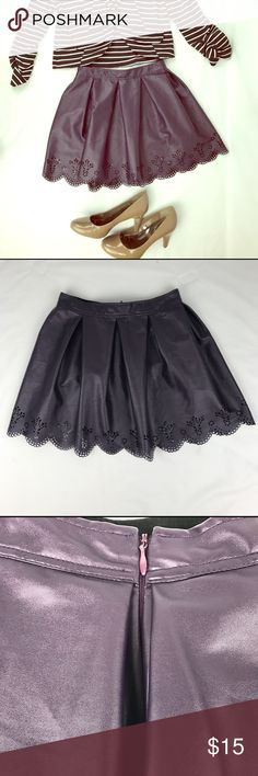 "Dream Out Loud purple eyelet Skirt by Selena Gomez Funky chic synthetic purple eyelet skirt.  Great for work or a fun night on the town.  Waist 25.5"" front length 15.5"".  Pre-owned and in really good condition.  Can be washed in the washer. Dream out loud by Selena Gomez Skirts A-Line or Full"
