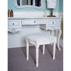Chic My Room French ivory dressing table stool beige cream stripe seat bench.