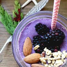 1 scoop #PerfectFitProtein 1/2 cup fresh blackberries 1/4 cup frozen  blueberries