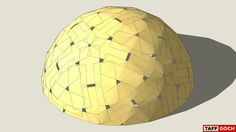 """Geodesic dome, composed of an arrangement of overlapping sheets of ¼"""" plywood • 56 full sheets • 8 half-sheets • 64 total • (Several extra sheets will be required, for trianglular corners, evident around the ground level - you should be able to use corners cut from other larger base sheets, if you cut carefully) • No struts, beams or hubs; just plywood & nuts, bolts & washers • 4x8' plywood will produce a 28' diameter, 14' tall dome • ¼"""" plywood is flexible enoug..."""
