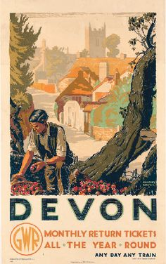 Devon GWR Railway Gardening, - original vintage poster by Gregory Brown listed on AntikBar Posters Uk, Train Posters, Railway Posters, Poster Ads, Advertising Poster, Poster Prints, Vintage Travel Posters, Vintage Ads, Vintage Signs
