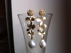 FLORAL earrings  gold vermeil orchids cascade and by LorellaDia, $80.00