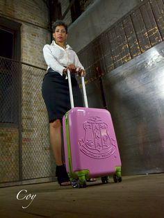 Alpha Kappa Alpha Sorority Luggage. Pink Hardshell