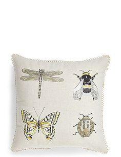 Linens & Textiles (pre-1930) Pillowcases Original Antique Applique Pillow Cover Blue Butterfly On Orange Removing Obstruction