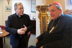 (Left) Cardinal Walter Kasper speaks with media in New York. Photo courtesy of Trace Murphy. (Right) Cardinal Raymond Burke, former archbishop of St. Louis. RNS photo by David Gibson