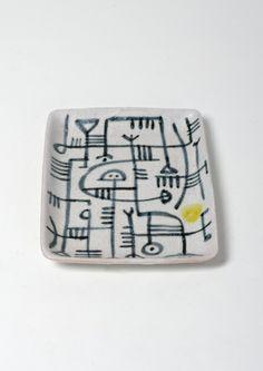 Guido Gambone; Glazed Ceramic Dish, 1950s.