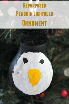 Repurposed Penguin Lightbulb Ornament