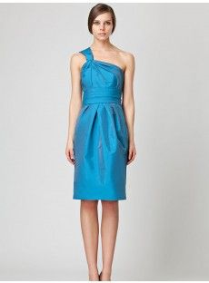 The one shoulder sky blue taffeta knee-length bridesmaid dress with the ruches bodice and the bud shape skirt