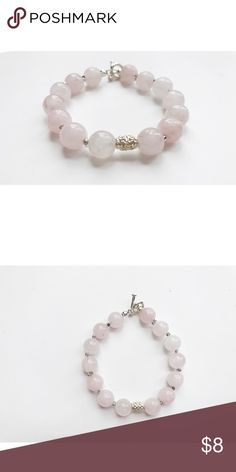 Pink quartz beaded bracelet A pink quartz beaded bracelet with a silver toggle ToriDesigns Jewelry Bracelets