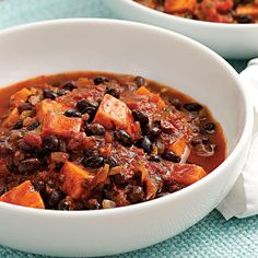 Make a double batch of this quick vegetarian chili, full of black beans and sweet potatoes, and take it to work for lunch the next day or freeze the extras for another night.