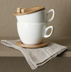Ceramic Cup with Wooden Saucer
