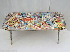 Vintage decoupage Dandy comic retro art deco glass coffee games novelty table | eBay
