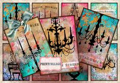 Items similar to Digital Collage Sheet Designed Gift Tags and Cards for Scrapbooking Printable Paper for Jewelry Holders Tags Chandelier Silhouette on Etsy Card Tags, Gift Tags, Cards, Printable Tags, Scrapbook Paper Crafts, Digital Collage, Collage Sheet, Artsy Fartsy, Shaby Chic
