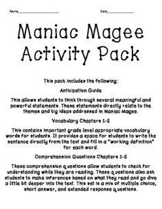 Maniac Magee Vocabulary | Vocabulary and Maniac magee