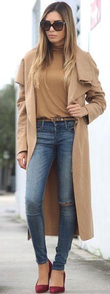 Jasmine Tosh Lately Camel, Denim And Hint Of Wine Fall Street Style Inspo