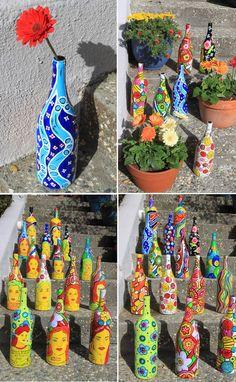 O Mundo de Calíope: Garrafas Decoradas com Alegria e Criatividade!