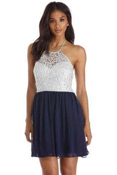 Elisa Navy Metallic Lace Party Dress